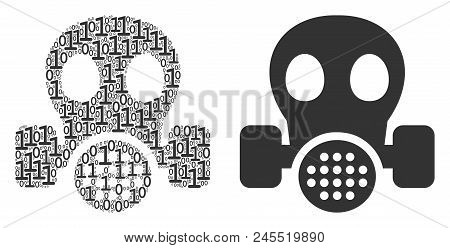Gas Mask Composition Icon Of Binary Digits In Variable Sizes. Vector Digital Symbols Are Combined In
