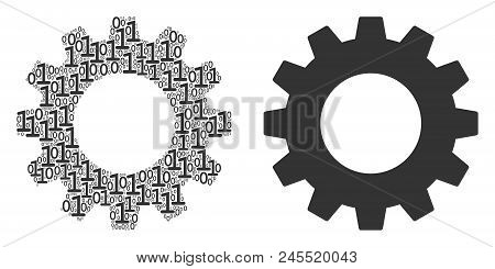 Gear Composition Icon Of Zero And Null Digits In Randomized Sizes. Vector Digit Symbols Are Combined