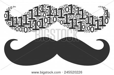 Gentleman Moustache Composition Icon Of One And Zero Digits In Variable Sizes. Vector Digits Are Gro