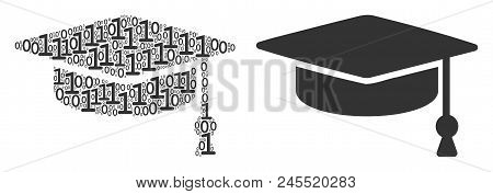 Graduation Cap Composition Icon Of Zero And Null Digits In Random Sizes. Vector Digits Are Combined