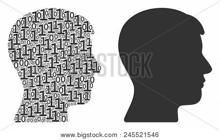 Man Head Profile Composition Icon Of Zero And Null Digits In Random Sizes. Vector Digits Are Organiz