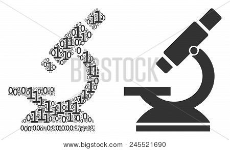 Microscope Collage Icon Of One And Zero Digits In Different Sizes. Vector Digit Symbols Are United I