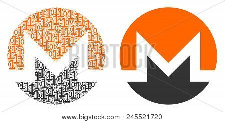 Monero Currency Composition Icon Of Binary Digits In Random Sizes. Vector Digit Symbols Are Organize