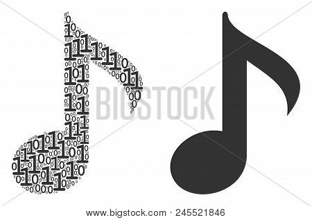 Musical Note Composition Icon Of Zero And Null Digits In Random Sizes. Vector Digits Are Composed In