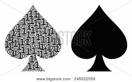 Peaks Suit Collage Icon Of One And Zero Digits In Variable Sizes. Vector Digits Are Grouped Into Pea
