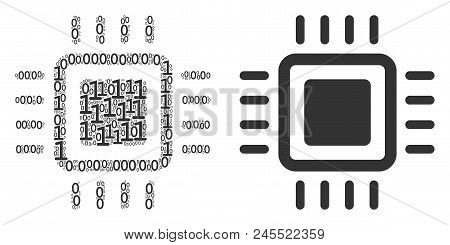 Processor Collage Icon Of Zero And Null Digits In Variable Sizes. Vector Digit Symbols Are Randomize