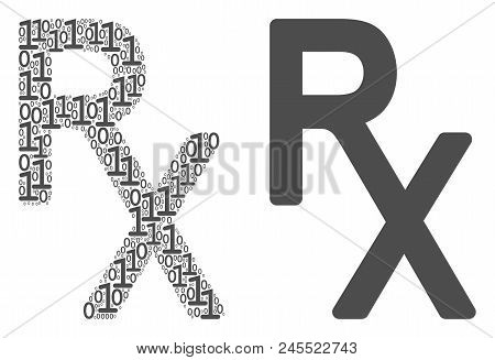 Rx Medical Symbol Composition Icon Of One And Zero Digits In Random Sizes. Vector Digits Are Organiz