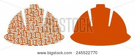 Safety Helmet Collage Icon Of Binary Digits In Different Sizes. Vector Digital Symbols Are Randomize