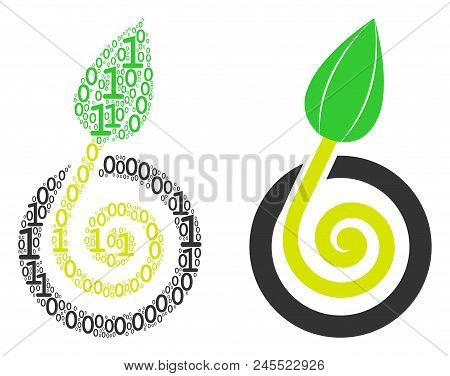 Seed Sprout Collage Icon Of Zero And Null Digits In Randomized Sizes. Vector Digits Are Organized In