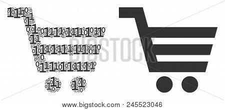 Shopping Cart Collage Icon Of One And Zero Digits In Randomized Sizes. Vector Digits Are Composed In