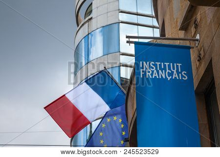 Belgrade, Serbia - June 14, 2018: Logo Of The French Institute (institut Francais) With The French F