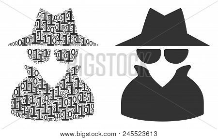 Spy Composition Icon Of One And Zero Digits In Various Sizes. Vector Digits Are Grouped Into Spy Com