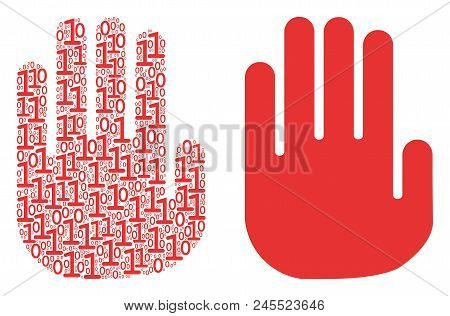 Stop Hand Collage Icon Of Zero And One Symbols In Various Sizes. Vector Digits Are Formed Into Stop
