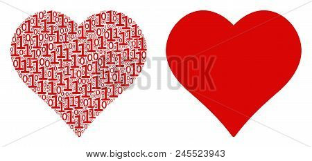 Valentine Heart Composition Icon Of Binary Digits In Variable Sizes. Vector Digital Symbols Are Grou