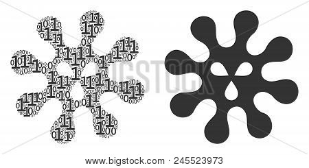 Virus Mosaic Icon Of Zero And Null Digits In Random Sizes. Vector Digital Symbols Are Combined Into