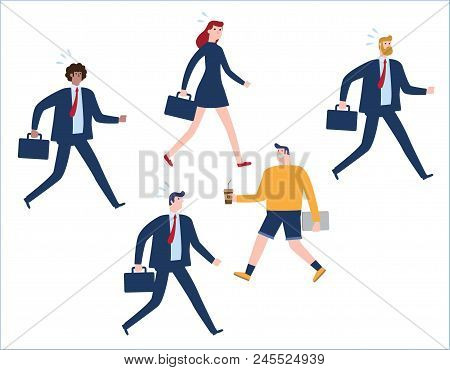 Business Concept As A Group Of Businesspeople In One Direction And With One Individual Pointing In T
