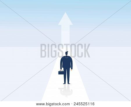Business Growth Vector Concept. Man Walking Towards Upwards Arrow. Symbol Of Success, Promotion, Car