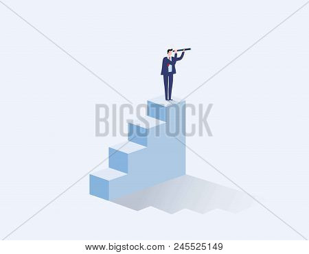 Vision Concept In Business With Vector Icon. Businessman And Telescope. Monocular. Symbol Leadership