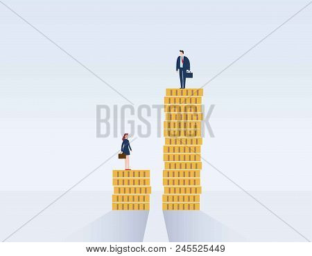 Gender Gap And Inequality In Salary, Pay Vector Concept. Businessman And Businesswoman On Piles Of C