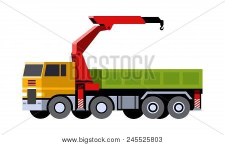 Minimalistic Icon Knuckle Boom Crane Truck Front Side View. Mobile Crane Vehicle. Modern Vector Isol