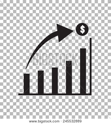 Graph Icon In Trendy Flat Style Isolated On Transparent Background. Chart Bar Symbol For Your Web Si