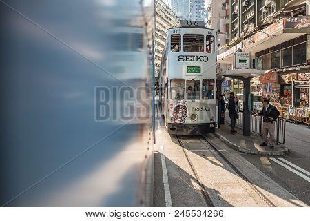 Johnston Road, Hong Kong - December 10, 2016: Hong Kong Tramways Is A Public Transport In Metropolis