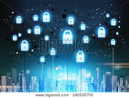 Padlock Over Ciyscape Data Protection Privacy Concept. Gdpr. Cyber Security Network Background. Shie