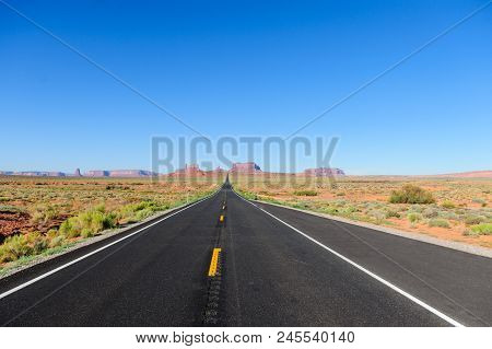Monument Valley Along Us Highway 161. Monument Valley Is A Favorite Tourist Destination And Marked B