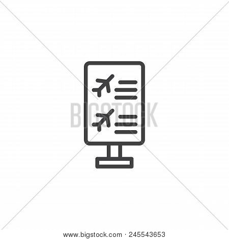 Flight Information Board Outline Icon. Linear Style Sign For Mobile Concept And Web Design. Airport