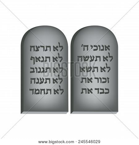 Ten Commandments. Concept Of Judaic Holiday Shavuot. Happy Shavuot In Jerusalem. Poster, Banner Or P