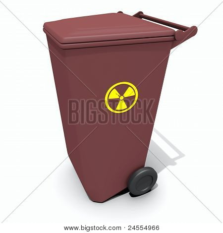 recycle container with radiation sign isolated over white poster