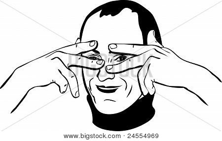 sketch of a man closes his eyes with his fingers