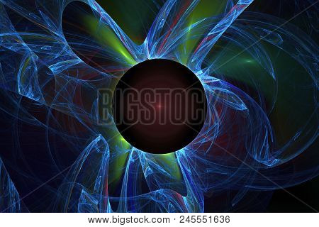 Fractal In Red, Green And Blue Tones. Space Background. A Black Hole And Fluctuations Near It.