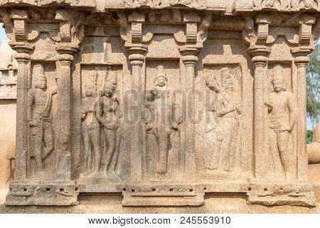 The Five Rathas, Detail On Arjuna Ratha, Mahabalipuram, Tamil Nadu, India
