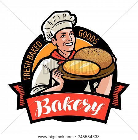 Bakery, Bakehouse Logo Or Label. Happy Baker Or Chef, Cook With Bread