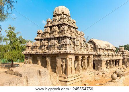 The Five Rathas, Yudhishthir Ratha, Bhima Ratha, Arjuna Ratha, Mahabalipuram, Tamil Nadu, India