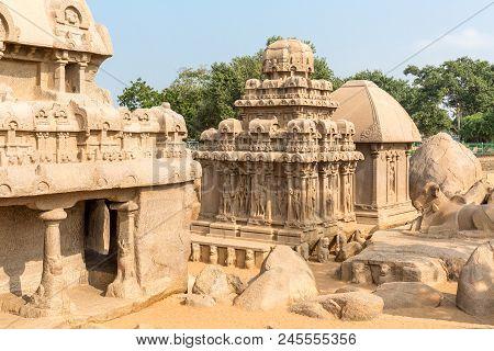The Five Rathas, Arjuna Ratha, Draupadi Ratha, Mahabalipuram, Tamil Nadu, India