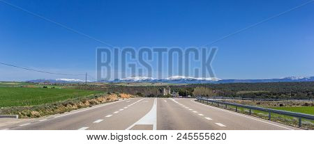 Panorama Of A Rural Highway In Castilla Y Leon, Spain