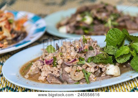 Spicy Minced Pork Salad Or Ground Pork Salad (laab) Is A Thai Food For Health Consists Of Pork, Grou