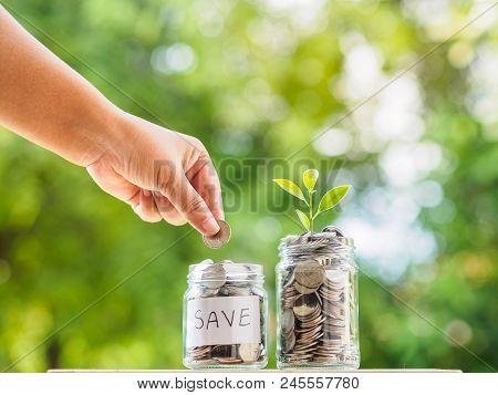 Women Hand Putting Money Coin Into Glass Jar For Saving Money. Saving Money And Financial Concept