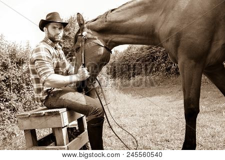 Good Looking, Hunky Cowboy Sits With  His Stud, Stallion, Horse With Boots, Chequered Shirt And Hat