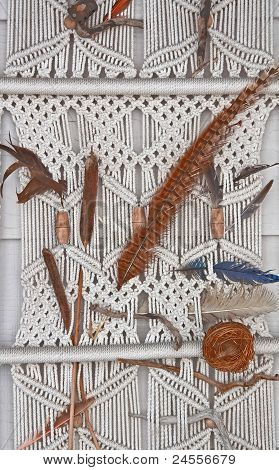 White Macrame Wall Hanging With Feathers