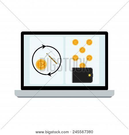 Mining Laptop Screen. Bitcoin Mining, Innovation Business. Vector Illustration