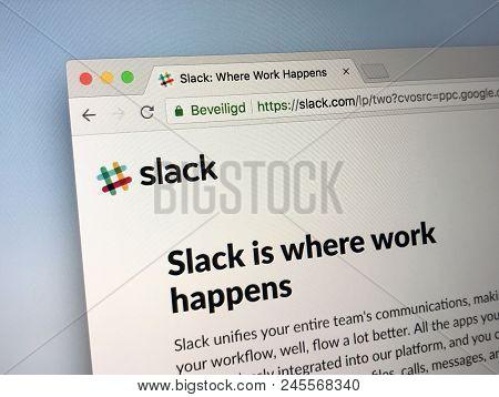 Amsterdam, Netherlands - June 17, 2018: Website Of Slack, A Cloud-based Set Of Proprietary Team Coll