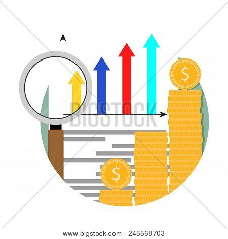 Growth Market, Financial Analysis Chart Icon. Growth Financial Analysis, Graph And Diagram Profit. V