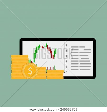 Buy And Sell On Financial Exchange On Tablet. Exchange Finance, Currency Stock Trade, Vector Illustr