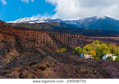 Ruins Of A House Kept Between The Lava Flows In One Of The Lasts Eruptions Of Etna