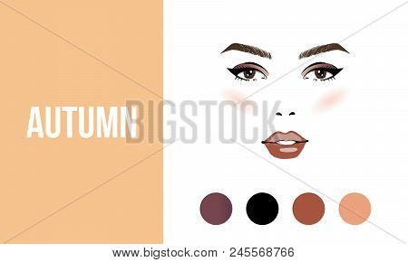 Face Makeup Autumn Type Of Female Appearance. Face Of Young Woman. Seasonal Color Analysis Palette.