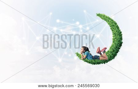 Cute Kid Girl On Green Moon And Social Connection Concept