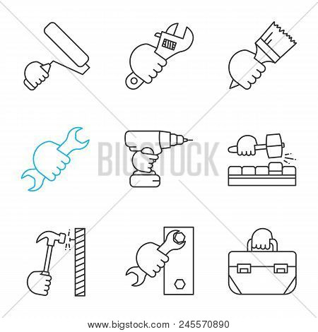 Hands Holding Instruments Linear Icons Set. Paint Roller, Plumbing Wrench, Brush, Spanner, Electric